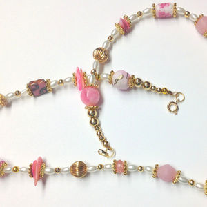 Pink, White & Gold Necklace w/Gold Accents, 23""